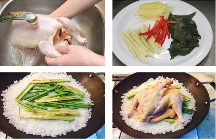 Sơ chế các nguyên liệu chính của gà hấp muối