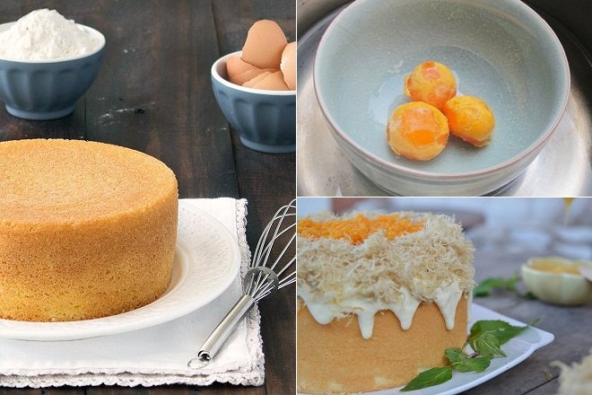 Những nguyên liệu cần chuẩn bị khi thực hiện bánh bông lan trứng muối bằng chảo