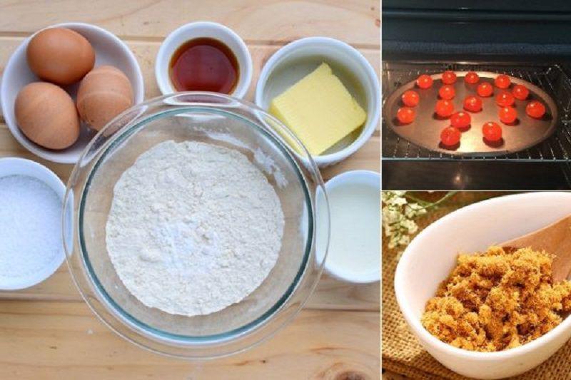 Những nguyên liệu cần chuẩn bị cho món bánh bông lan trứng muối bằng lò nướng