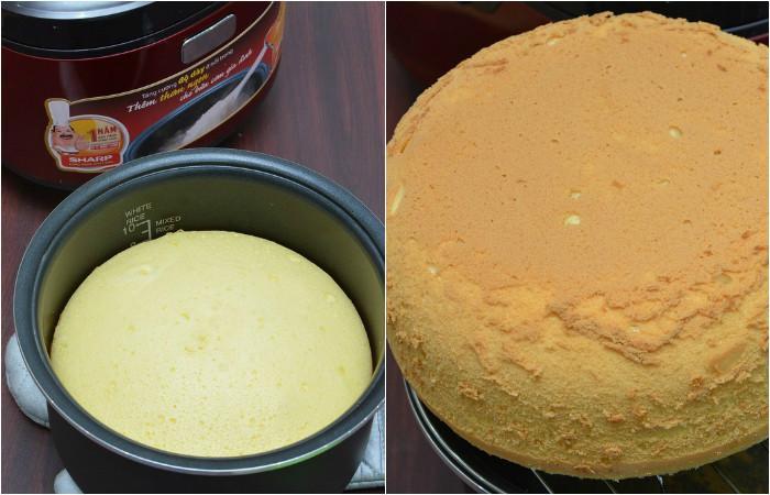 Bánh bông lan nướng bằng nồi cơm điện phải có màu vàng đều, bánh mềm như mây với mùi thơm ngon, kích thích vị giác