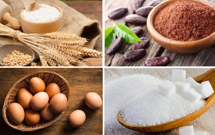 Những nguyên liệu cần chuẩn bị để thực hiện bánh bông lan socola bằng nồi cơm điện