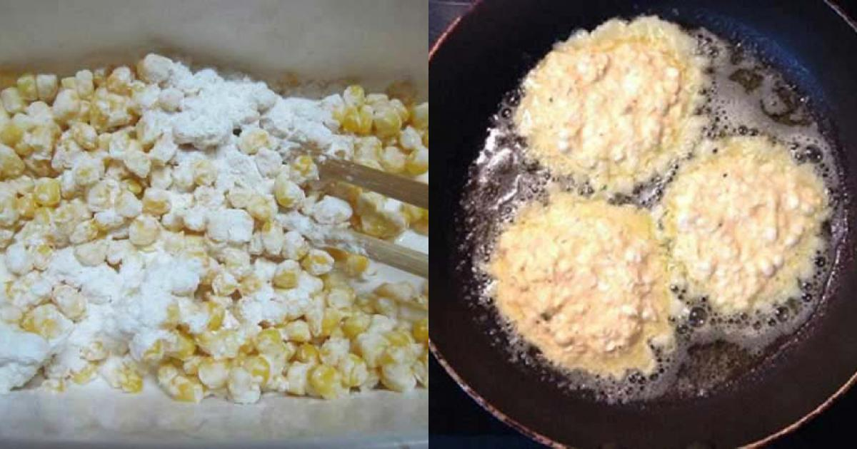 Chiên bánh ngô đến khi vàng đều 2 mặt thì vớt ra để ráo