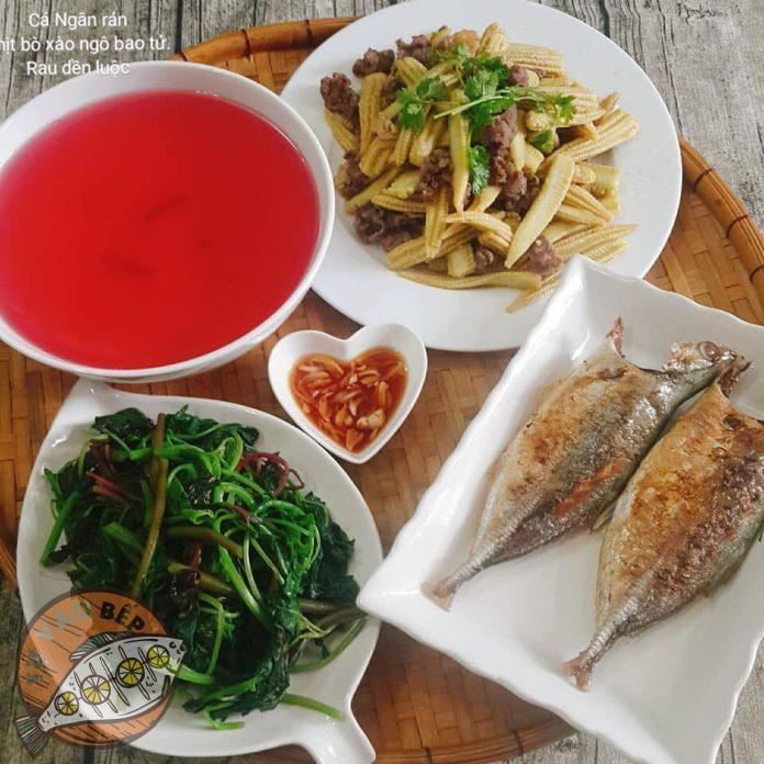 thịt bò xào ngô bao tử, cá ngân rán, rau dền luộc, mắm tỏi