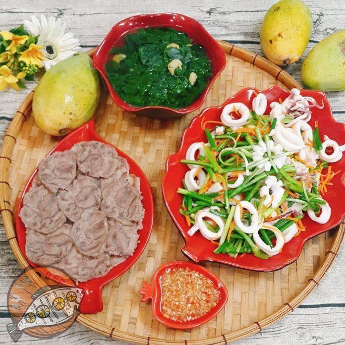 mực xào ngồng tỏi, thịt gân lợn luộc, canh mồng tơi nấu tép, xoài