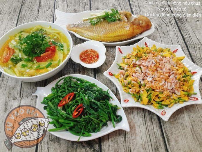 canh cá diêu hồng nấu chua, ngon bí xào tỏi, gỏi tép đồng bông điên điển