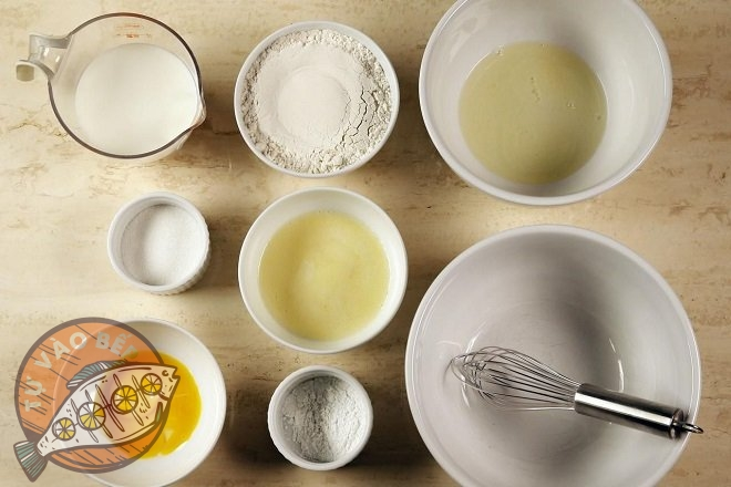 Chuẩn bị đầy đủ các nguyên liệu để làm bánh