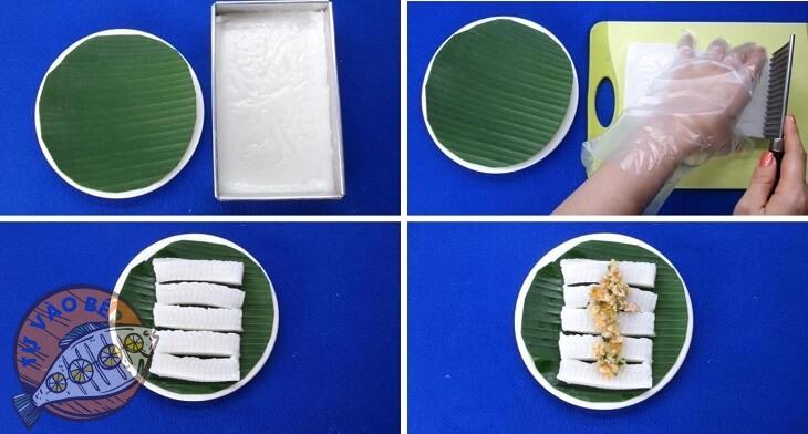 Cắt bánh bằng dao gợn sóng thành miếng vừa ăn