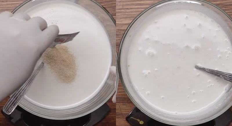 Trộn bột bánh bò với men nở