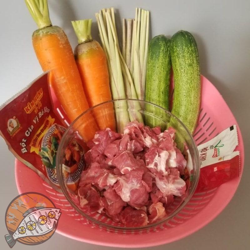 Nguyên liệu nấu bò kho cà rốt