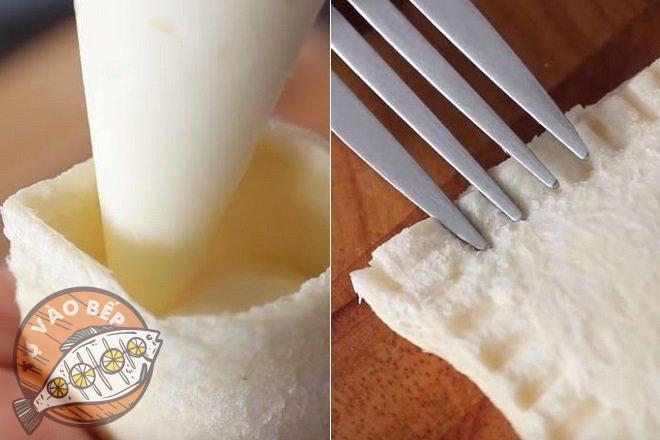 Bơm nhân vào bánh mì, ép cạnh là hoàn thành