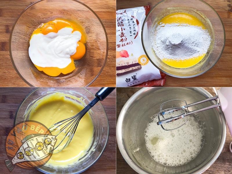 Làm cốt bánh bông lan sữa chua theo từng bước, cẩn thận