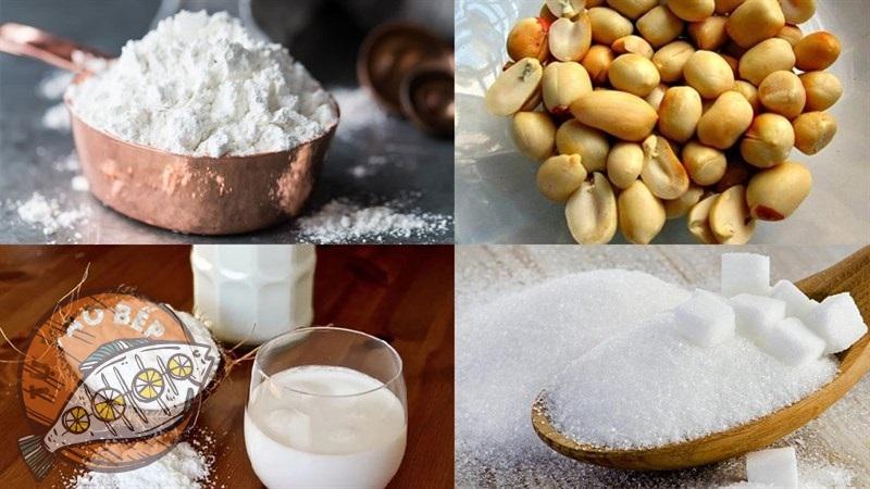 Nguyên liệu chính nấu chè bột lọc đậu phộng: Bột năng, đậu phộng, đường phèn