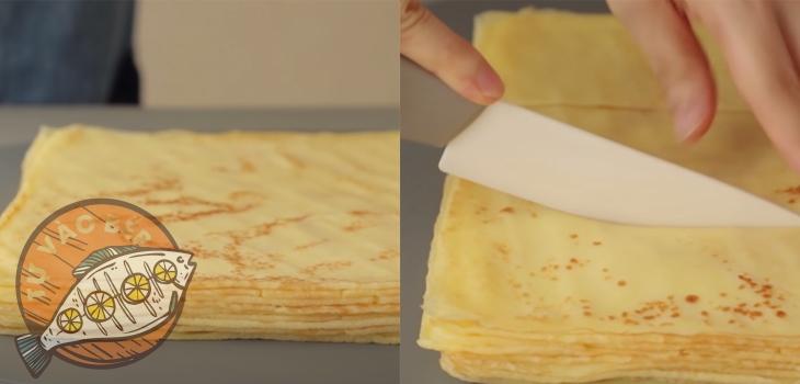 Cắt vỏ bánh thành 2 hình chữ nhật có diện tích bằng một nửa diện tích ban đầu