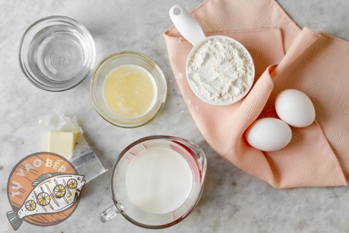 Nguyên liệu làm bánh crepe ngàn lớp phô mai