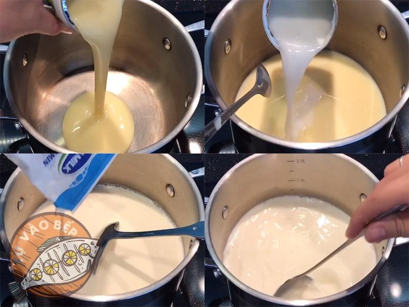 Trộn sữa đặc và sữa tươi đun lên bếp để lửa nhỏ cho đến khi sôi lăn tăn thì nhắc xuống