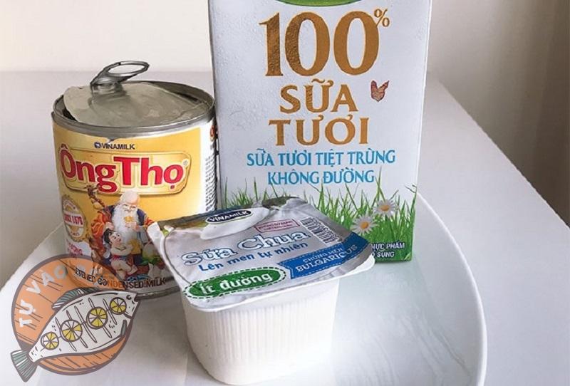 Nguyên liệu cần cho cách làm sữa chua không cần ủ