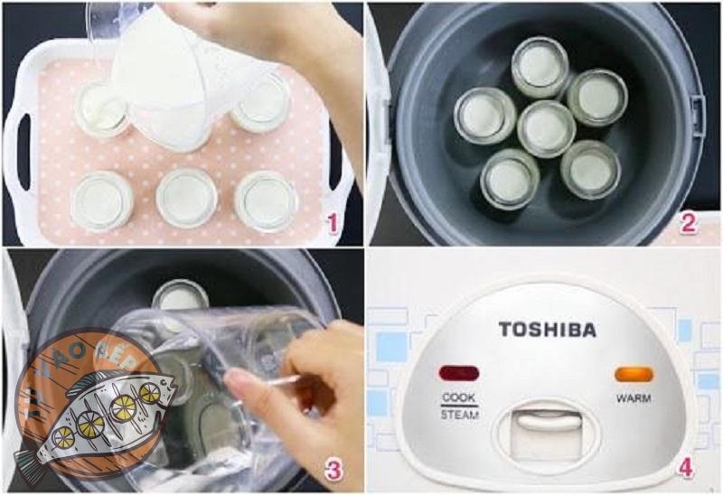 Xếp lần lượt các hũ sữa chua vào nồi cơm điện và đổ nước nóng (70-80 độ C) ngập 2/3 hũ