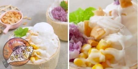 cách làm kem xôi dừa Thái Lan